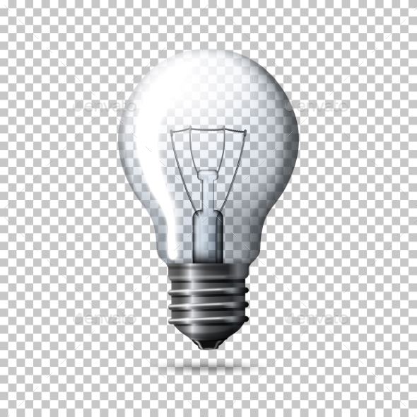 Transparent Realistic Light Bulb Isolated - Man-made Objects Objects