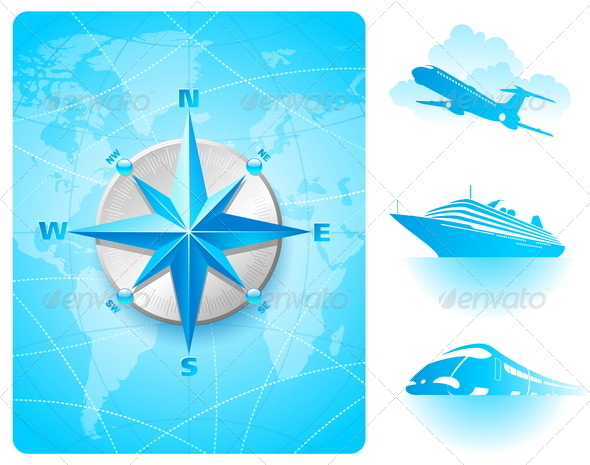 Compass Rose and Contemporary Transport - Travel Conceptual