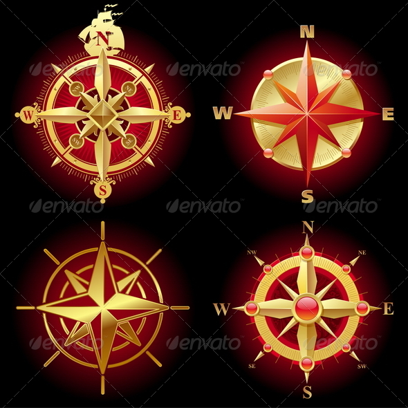 Set of Golden Compass Roses - Travel Conceptual