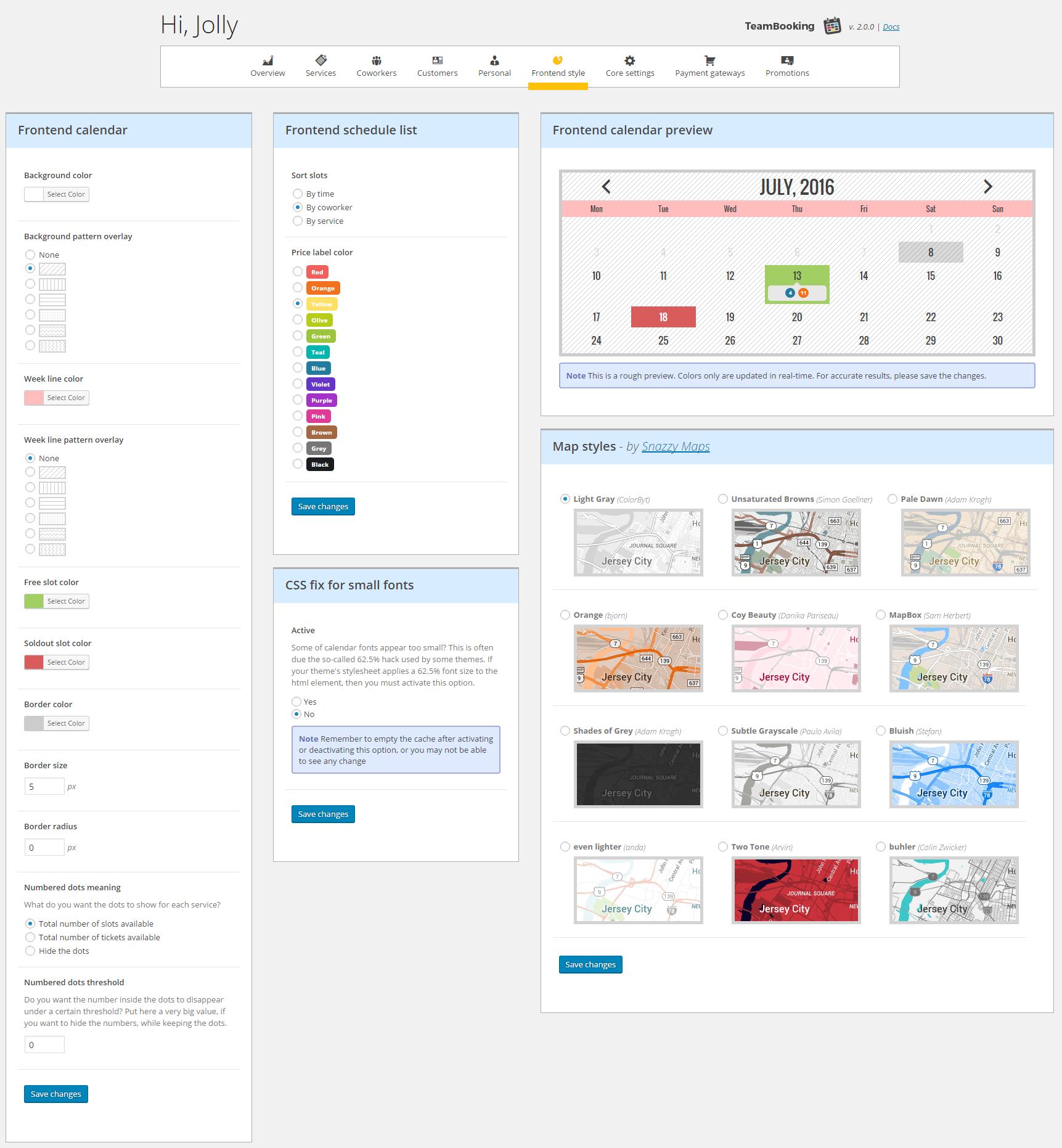 Year Calendar Js : Team booking wordpress system by vonstroheim
