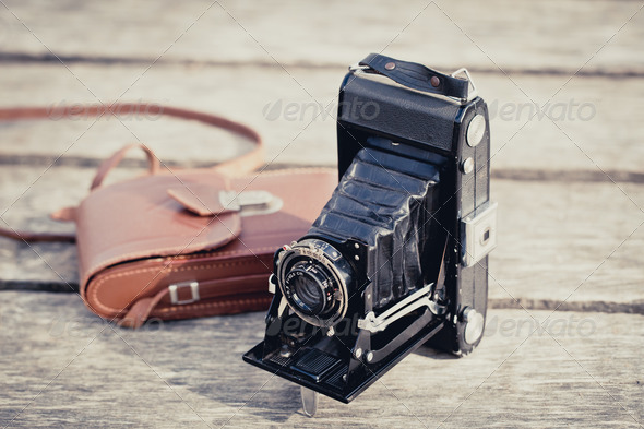 Old folding camera - Stock Photo - Images