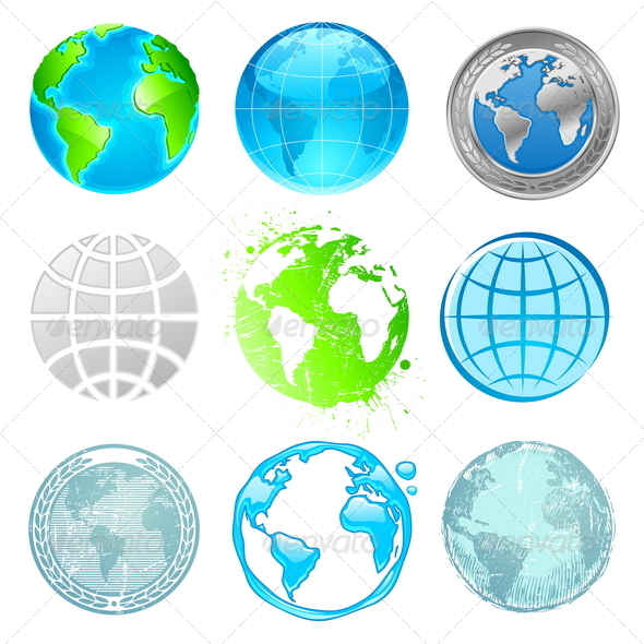 Globe and Earth Vector Set - Travel Conceptual