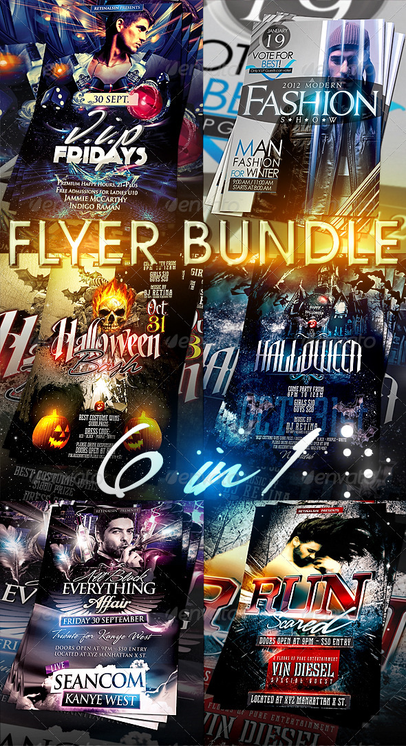 6in1 Flyer Bundle Vol.2 - Clubs & Parties Events