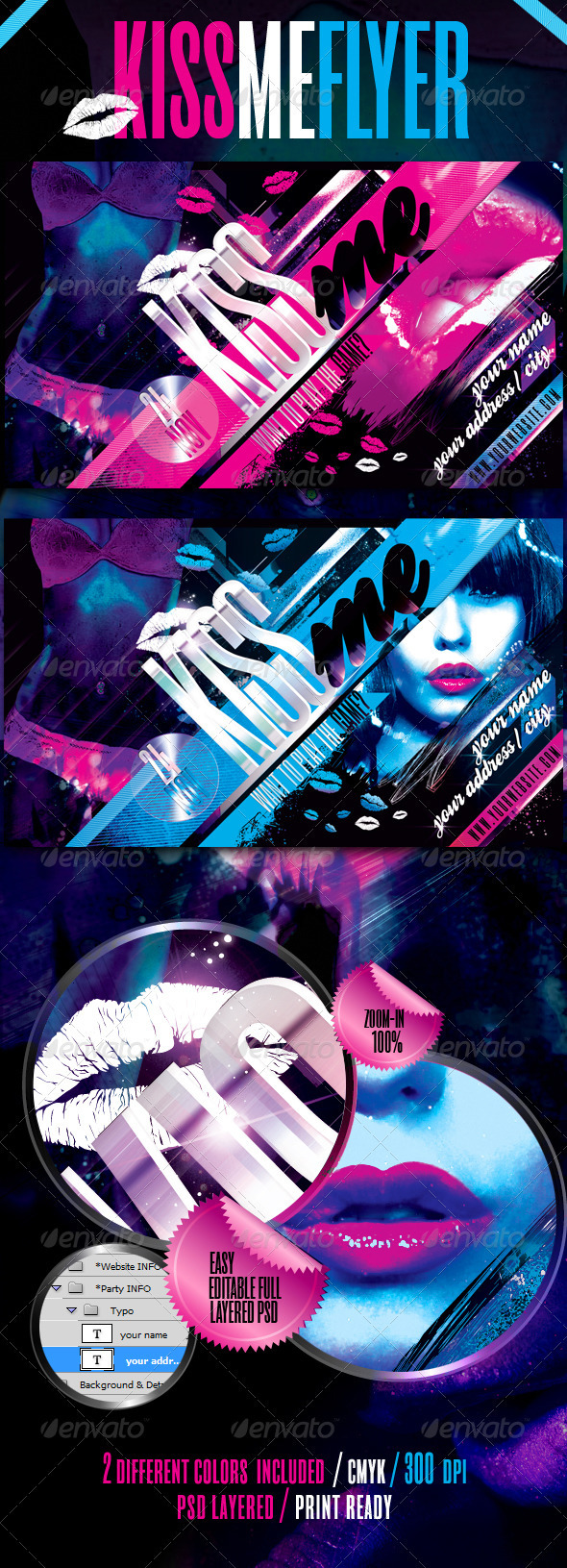 Kiss Me Flyer Template - Clubs & Parties Events