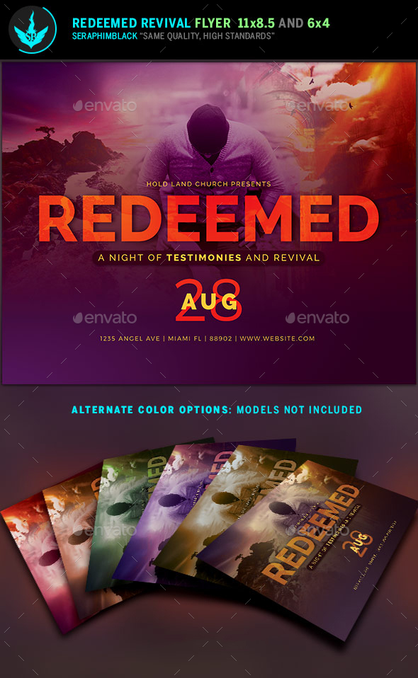 Redeemed revival church flyer template by seraphimblack for Free church revival flyer template