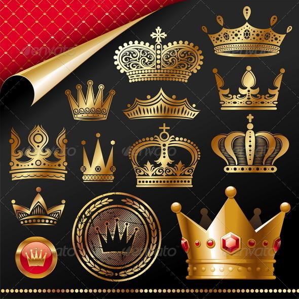 Set of Golden Royal Crown - Decorative Vectors