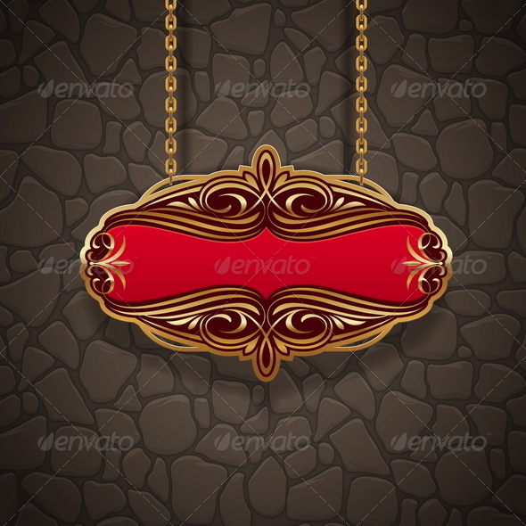 Golden Vintage Signboard - Decorative Vectors