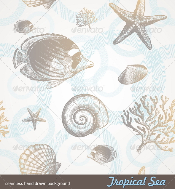 Seamless Background - Underwater Tropical Fauna - Patterns Decorative