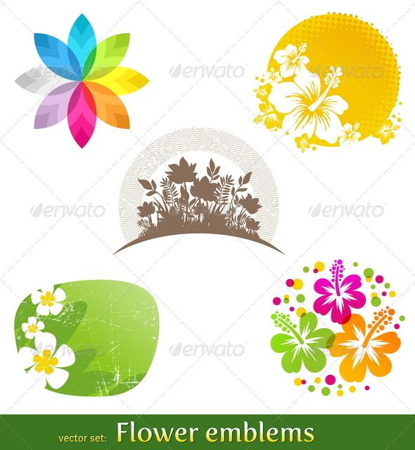 Set of Flower Emblems - Flowers & Plants Nature