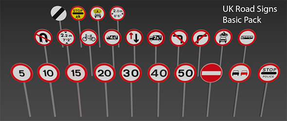24 Basic UK Road Signs - 3DOcean Item for Sale