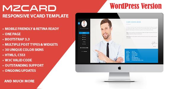 MilZinCard WordPress Responsive vCard Theme
