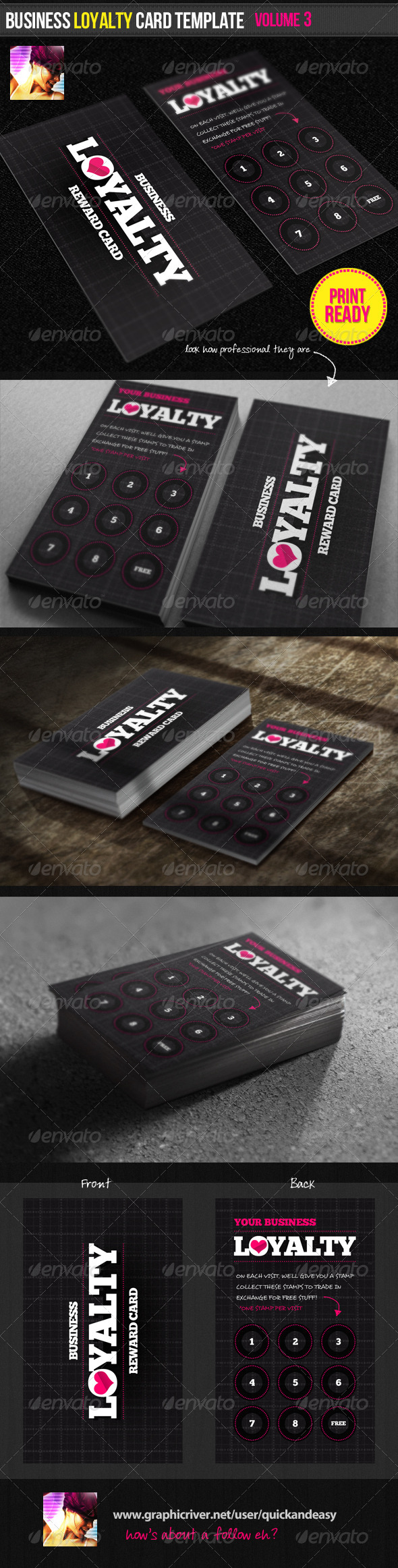 Business Loyalty Card Template Vol By Quickandeasy GraphicRiver - Business loyalty card template