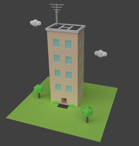 Low Poly Hospital Building  - 3DOcean Item for Sale