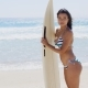 Pretty Surfer In Striped Bikini Holding Surf Board - VideoHive Item for Sale