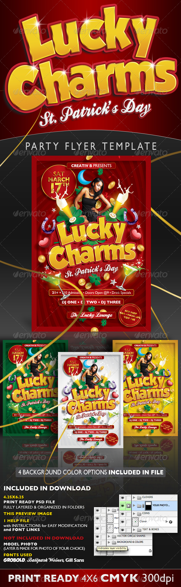 Lucky Charms St. Patrick's Day Flyer Template - Clubs & Parties Events