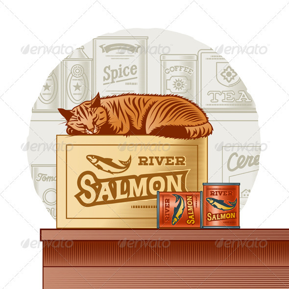 Retro Canned Fish And Sleeping Cat - Food Objects