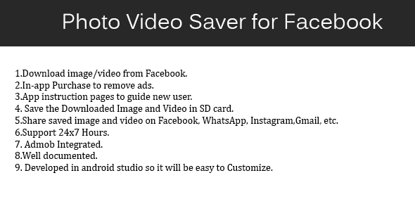 Photo Video Saver for Facebook - CodeCanyon Item for Sale