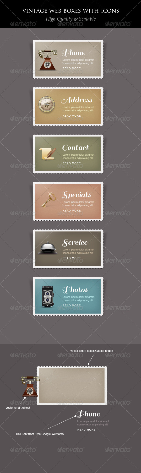 Vintage Content Boxes with Icons - Banners & Ads Web Elements