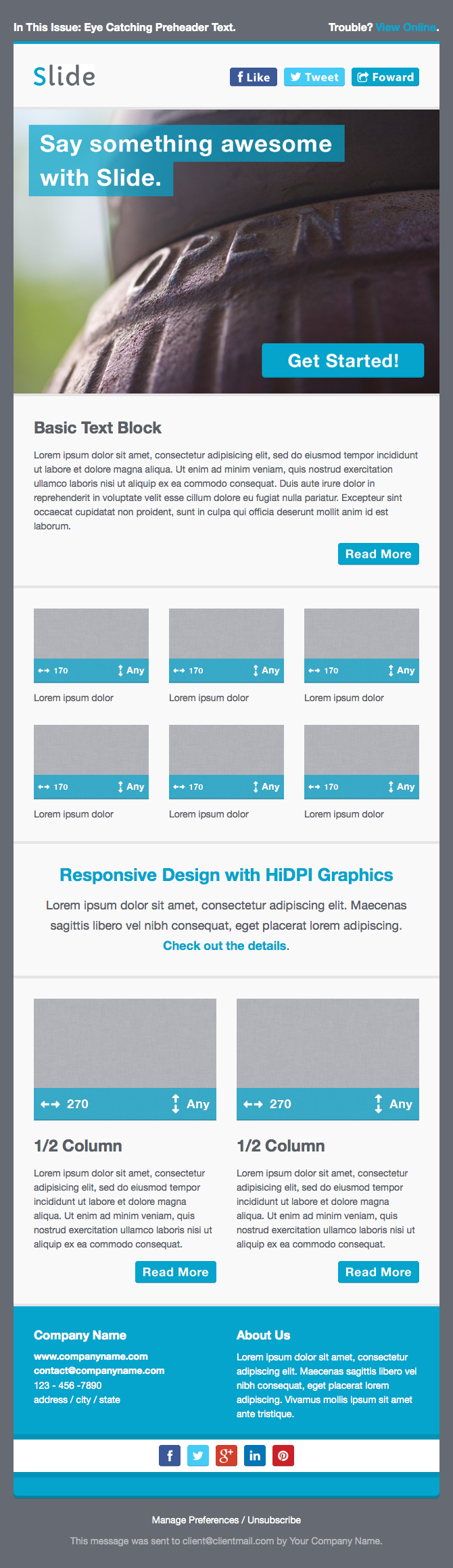 Slide Responsive Email Template By Creekjumper ThemeForest - 2 column responsive email template
