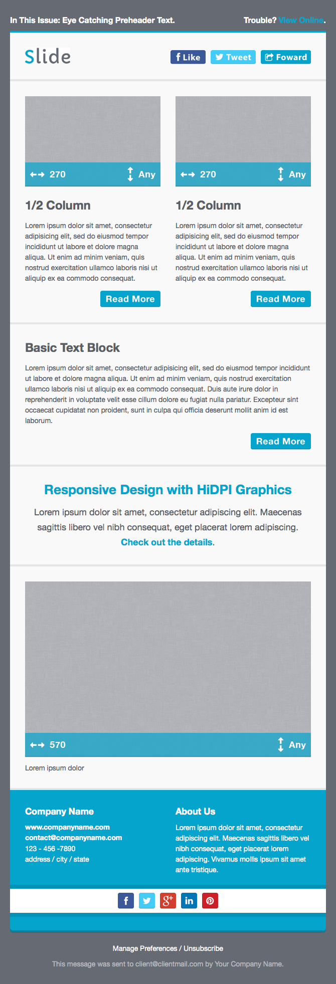 Slide responsive email template by creekjumper themeforest for How to make a responsive email template
