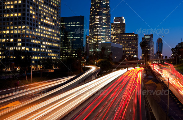 Los Angeles, Urban City at Sunset with Freeway Trafic - Stock Photo - Images