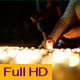 Young People Lighting up Small Candles on the Ground in the Night - VideoHive Item for Sale