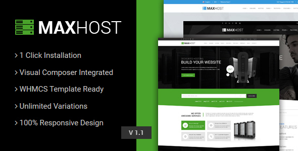MaxHost – Web Hosting, WHMCS and Corporate Business WordPress Theme with WooCommerce