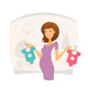 Happy Pregnant Woman with Baby Clothes - GraphicRiver Item for Sale