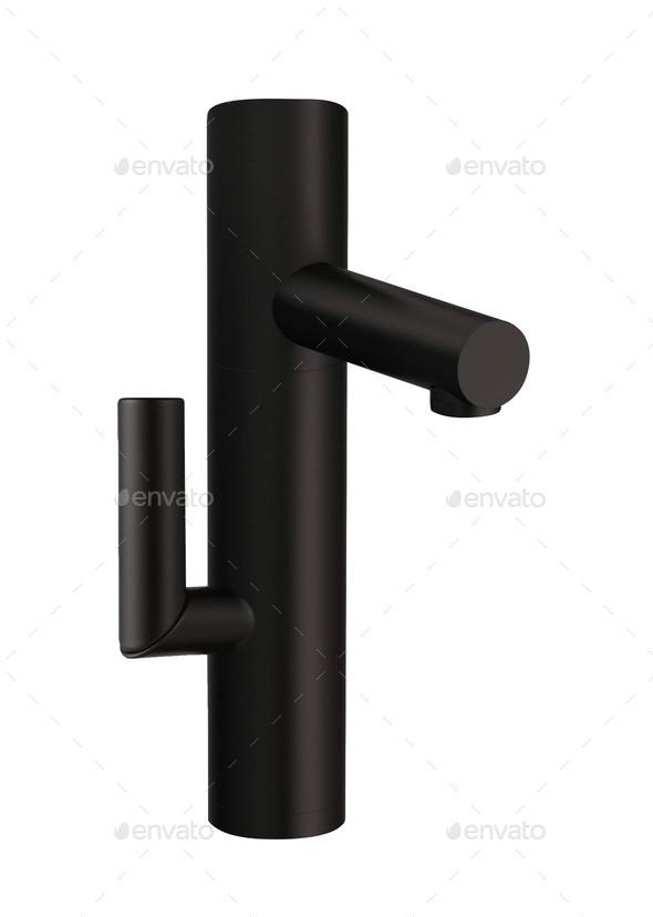 Closeup of water-supply faucet mixer - Stock Photo - Images