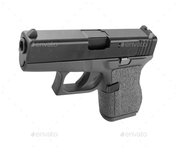 automatic hand gun on white background - Stock Photo - Images