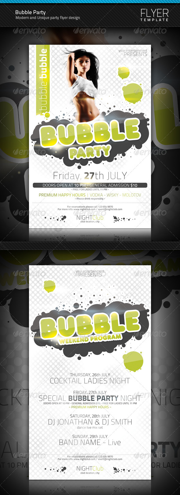 Bubble Party Flyer Templates - Clubs & Parties Events