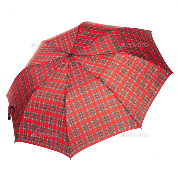 The checkered umbrella isolated against white background - Stock Photo - Images