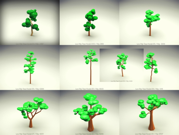 Low Poly Tree 10 Pieces Set - 3DOcean Item for Sale