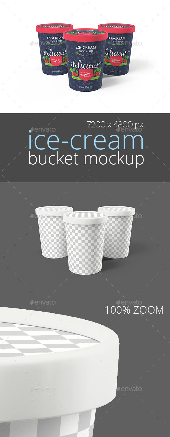 Ice-Cream Bucket Packaging Mockup (Triple)