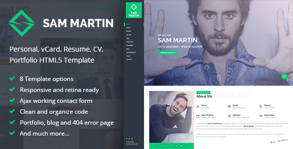 Sam Martin - Personal vCard Resume HTML Template