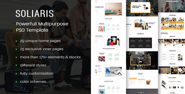 Soliaris - 60 Pages Business PSD Template - Business Corporate