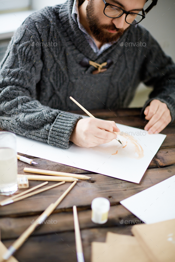 Painting with water-color - Stock Photo - Images