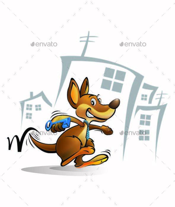 Cartoon Kangaroo Icon - Animals Characters