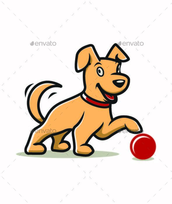 Puppy Playing with Ball - Animals Characters