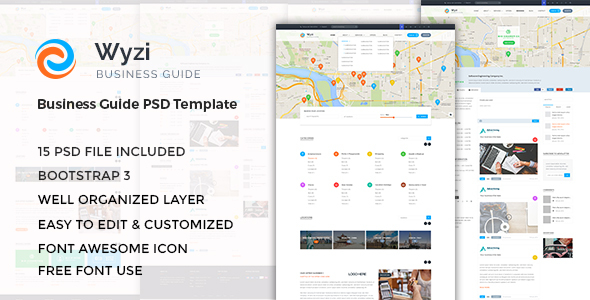 WYZI – Business Directory with Social Media Look PSD Template