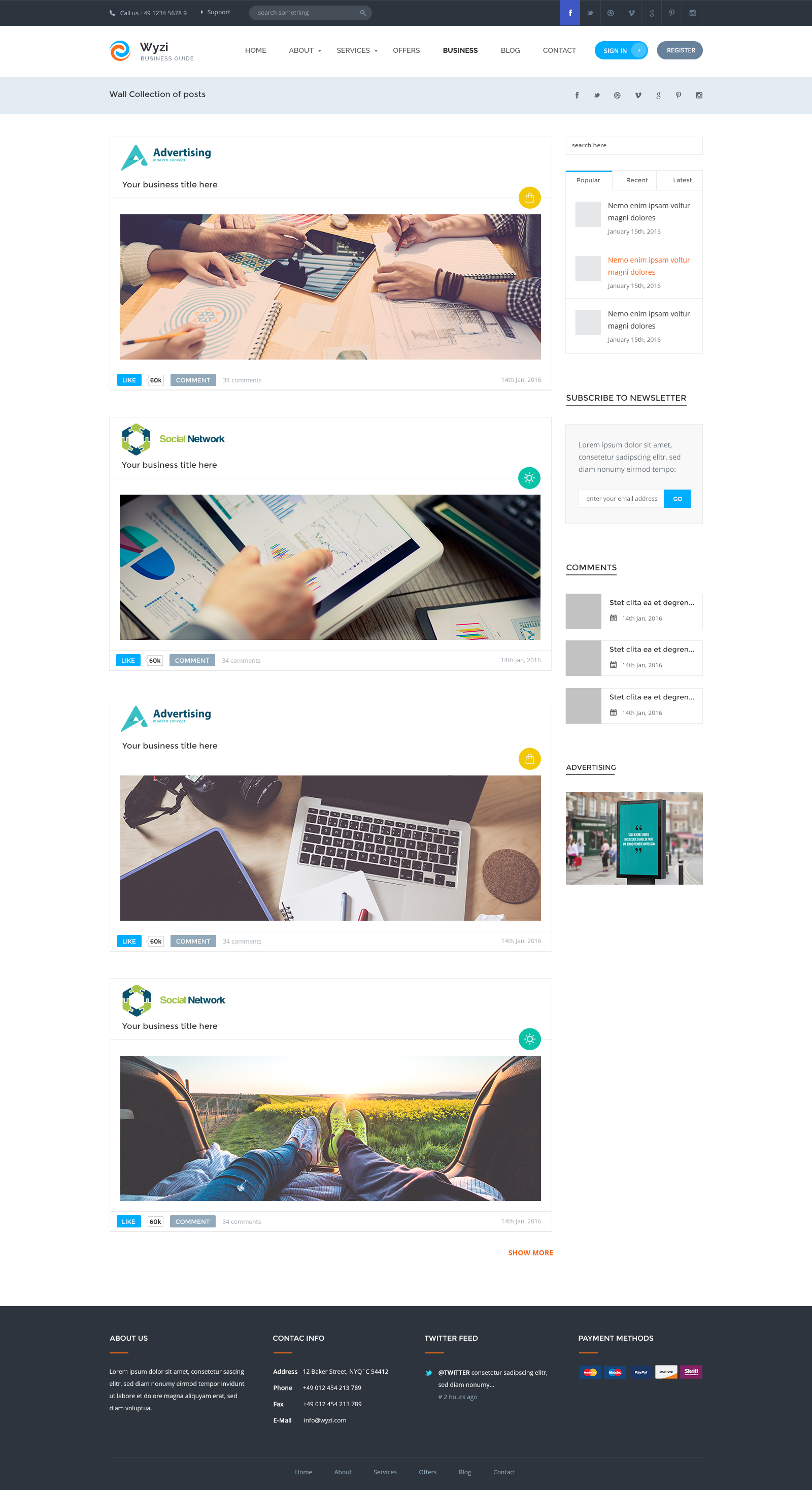 Wyzi business directory with social media look psd template by wyzi business directory with social media look psd template wajeb Image collections
