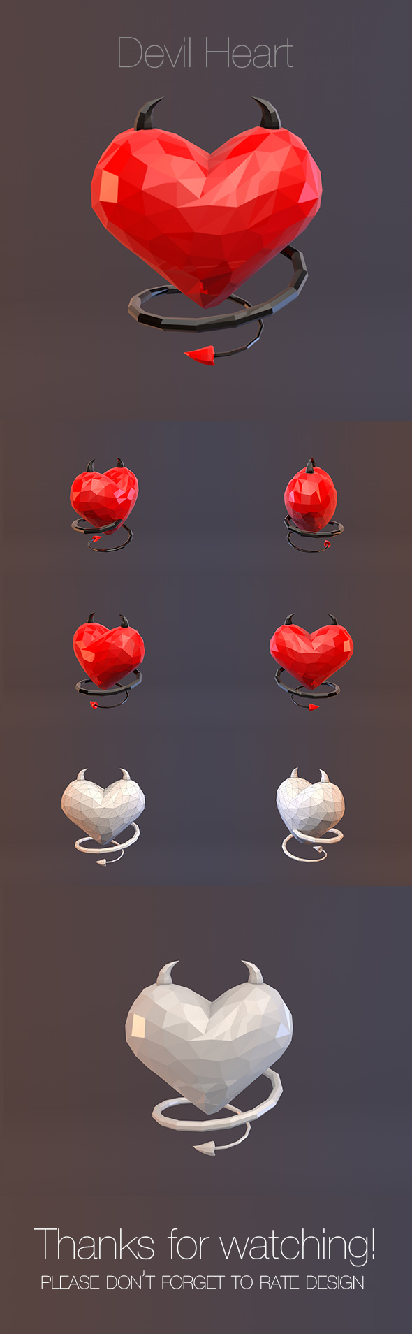 Low Poly Devil Heart - 3DOcean Item for Sale