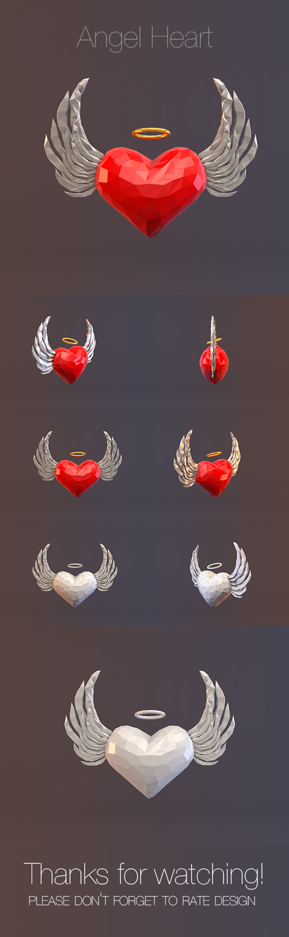 Low Poly Angel Heart - 3DOcean Item for Sale