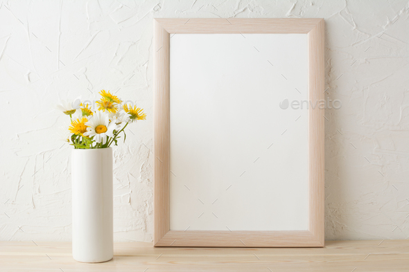 Frame mockup with white and yellow chamomiles in vase - Stock Photo - Images