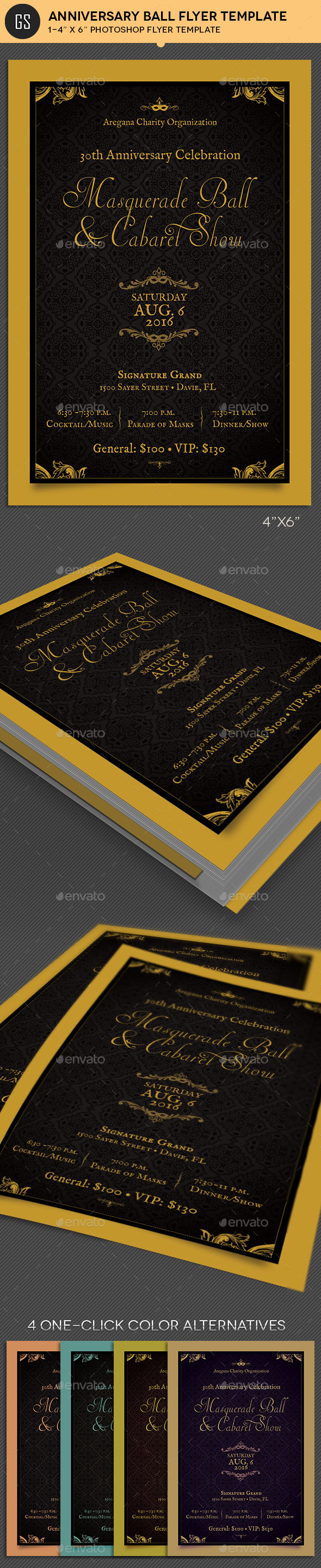Anniversary Ball Flyer Template by Godserv | GraphicRiver