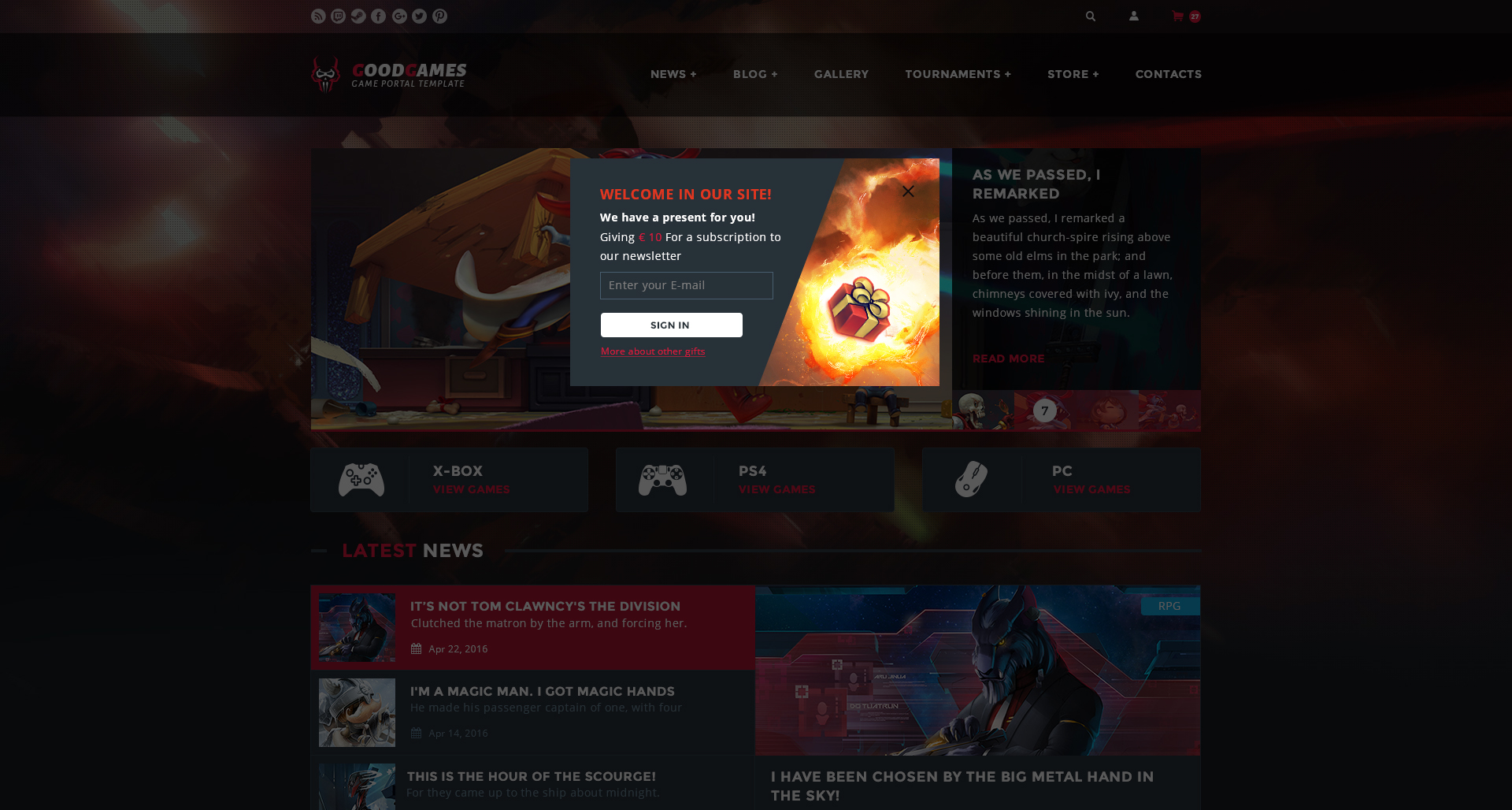GoodGames — Clean Game Portal/Store PSD Template by SYATWEB ...