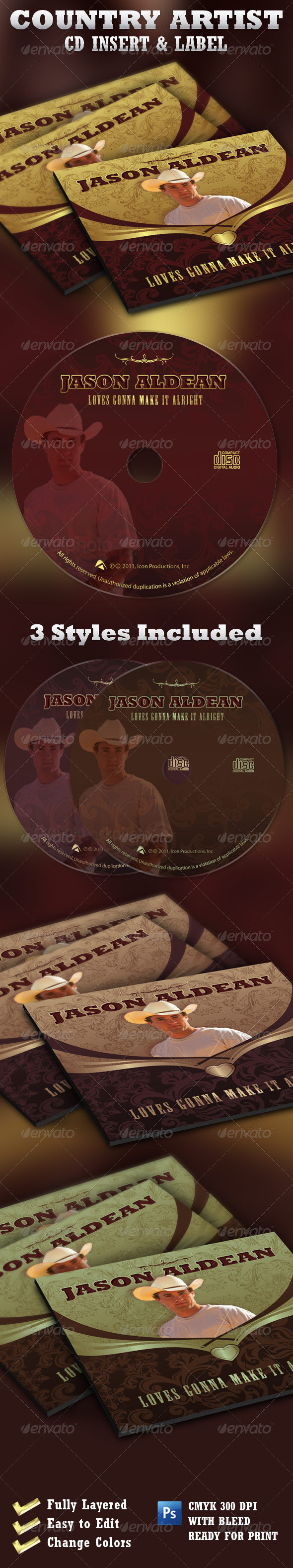Country Artist CD Label Insert Template - CD & DVD Artwork Print Templates