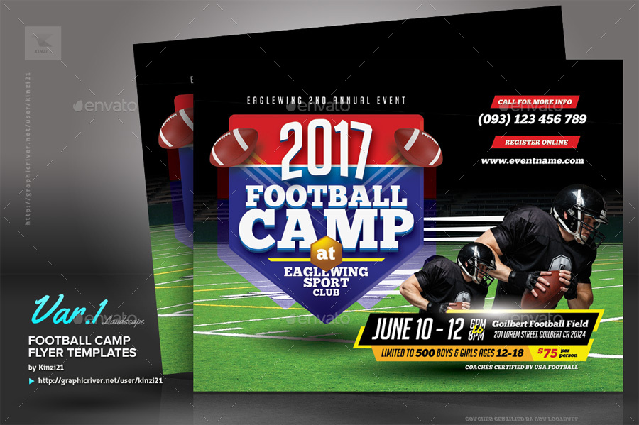 football camp flyer templates by kinzi21 graphicriver. Black Bedroom Furniture Sets. Home Design Ideas