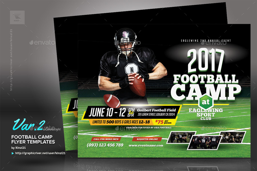 Football Camp Flyer Templates By Kinzi  Graphicriver