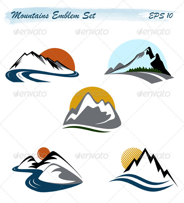 Mountains Emblem Set - Nature Conceptual